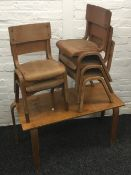 Six vintage child's school chairs and a matching table