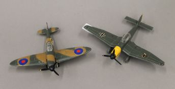 A Dinky Toys Spitfire MK II model airplane No.
