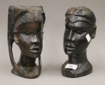 Two carved African hardwood busts,
