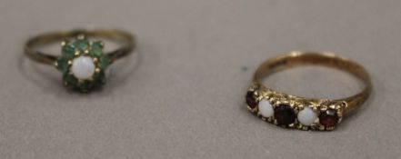 A gold opal and ruby set five stone ring, marks rubbed, size M (2 grammes total weight) and another,