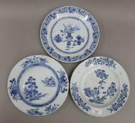 Three 18th century Chinese blue and white plates