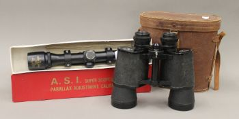 A pair of boxed Pathe Scope 10 x 50 field glasses No. 17228; together with an A.S.I.