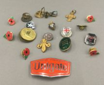 A quantity of enamel badges, etc.
