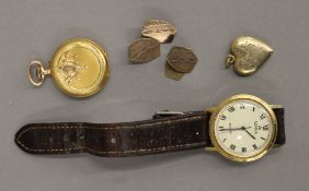 A Swiss 14 ct gold cased lady's pocket watch, the case with traces of enamelling,