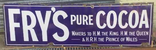 A large Fry's Pure Cocoa Makers to HM The King and The Queen & HRH The Prince of Wales enamel sign