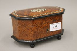 A small 19th century French inlaid amboyna trinket box,