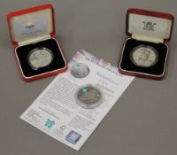 Three Royal Mint United Kingdom silver proof five pound coins, comprising 1993,