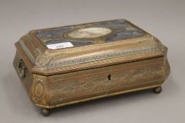 A 19th century French patinated brass casket,