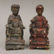 Two small Chinese wooden figures
