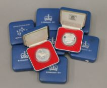 Eight silver Jubilee silver proof coins and a Brunei ten dollar silver proof coin