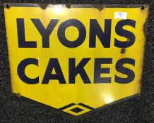 A double sided Lyons Cakes enamel sign