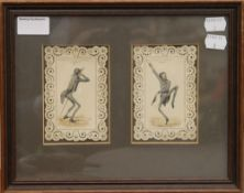 A pair of 19th century French watercolours,