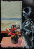 MILLER (20th/21st century), Figure and Flowers Before an Open Window, mixed media and collage,