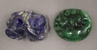 A jade pendant together with a lapiz pendant