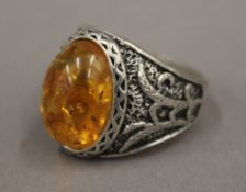 A silver dress ring
