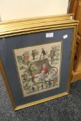 Five genre prints comprising Summer Outings, Sketches at Henley, A Reverie, On the Ice,