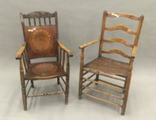 A late 18th/early 19th century vernacular country ash and elm ladder back chair with solid seat,