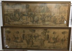 Two needlework tapestry pictures, both worked with Egyptian scenes, framed and glazed,