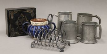 A quantity of miscellaneous, including pewter tankards, etc.