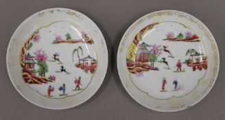 A pair of 19th century Chinese famille rose dishes,