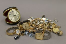 A quantity of costume jewellery and watches