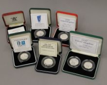 Five Royal Mint United Kingdom silver proof fifty pence pieces, comprising 1993, 1994,