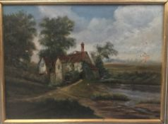 ENGLISH SCHOOL (19th century), Figures Before a Rural Cottage in Landscape, oil on canvas, framed,