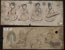 CHINESE SCHOOL (20th century) Musicians, a pair, painted on wood panels, unframed, the largest 55.