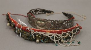 Two Chinese metal head dresses, one set with bead drops,
