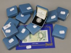 Thirteen Royal Mint United Kingdom silver proof one pound coins, comprising 1989-1996,