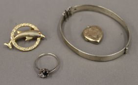 A silver hinged cuff bangle,