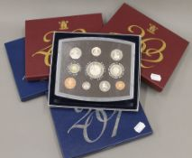 Five Royal Mint United Kingdom proof coin sets comprising 2000-2004