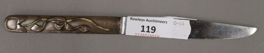 A 19th century Japanese knife with signed steel blade,