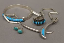 A small quantity of turquoise set Mexican silver jewellery, some marked 925, some marked 950,