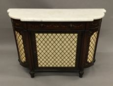 An early 19th century marble topped painted rosewood and mahogany side cabinet The stepped shaped