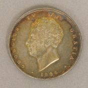 A George IV one sided silver coin Possibly a miss-struck proof or apprentice piece.