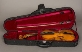 A mid-20th century English full size violin by Harry Clare (in full working order) A handwritten