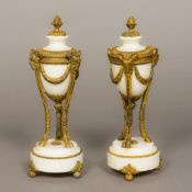 A pair of 19th century gilt bronze mounted alabaster cassolettes Each of lidded urn form,