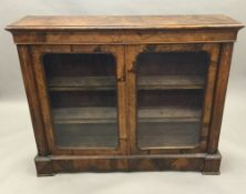A Victorian inlaid burr walnut glazed side cabinet - WITHDRAWN The moulded rectangular top above