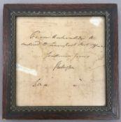 ELIZABETH BILLINGTON (1765-1818) British Signed handwritten note Framed and glazed;
