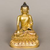 A good and finely cast Chinese gilt bronze figure of Buddha Seated in Dhyanasana,