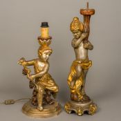Two Halian carved and polychrome decorated decorative lamp bases Modelled as putti.