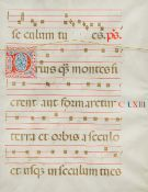 Two antique antiphonary leaves on vellum Doubled sided, framed and glazed. 35.5 x 46 cm.