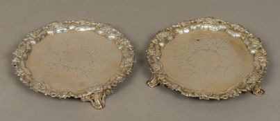 A pair of early Victorian silver salvers, hallmarked Sheffield 1841,