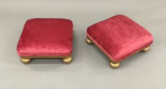 A pair of 19th century carved giltwood foot stools Each of square section form,