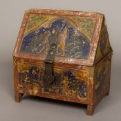 A Continental medieval style casket With iron strap and lock plate and with line engraved hinges,
