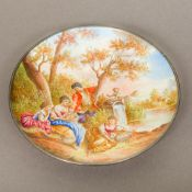 A Continental enamelled dish,