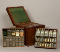 A 19th century mahogany travelling apothecary case Of hinged square section form,