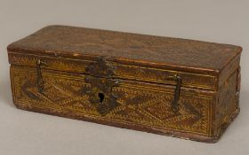 A 17th/18th century hinged leather travelling box The sectional interior with three vacant and one