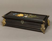 A 19th century Continental pietra dura inset glove box Of carved rectangular form,